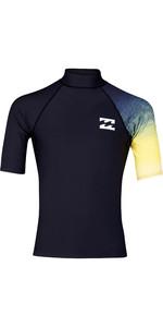 2019 Billabong Mens Contrast Short Sleeve Printed Rash Vest Black N4MY05