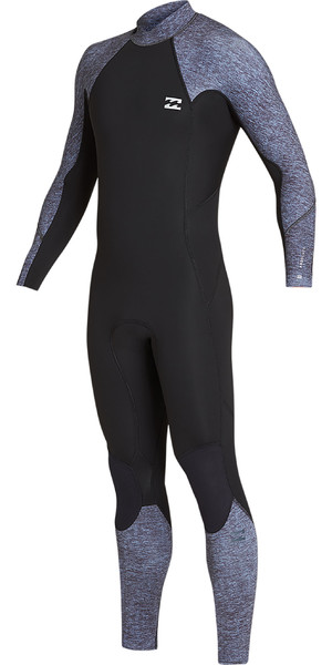2019 Billabong Mens 3/2mm Furnace Absolute Back Zip Wetsuit Grey Heather N43M33