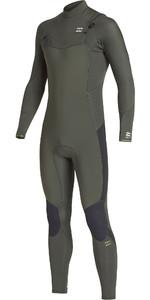 2019 Billabong Mens Furnace Absolute 4/3mm Chest Zip Wetsuit Olive Q44M09