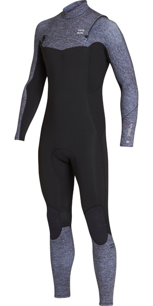 2019 Billabong Mens 3/2mm Furnace Absolute Comp Chest Zip Wetsuit Grey Heather N43M07