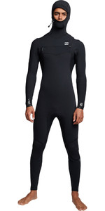 2019 Billabong Mens Furnace Comp 4/3mm Hooded Chest Zip Wetsuit Black Q44M04