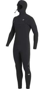 2020 Billabong Mens Furnace Comp Hooded 4/3mm Chest Zip Wetsuit U44M53 - Black