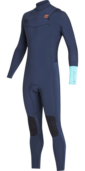2019 Billabong Mens 3/2mm Furnace Revolution Chest Zip Wetsuit Cyan N43M04