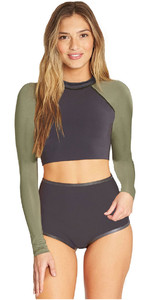 2019 Billabong Womens 1mm Neoprene Long Sleeve Crop Top Black Olive N41G10
