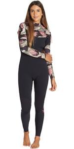 2019 Billabong Womens Furnace Carbon 4/3mm Chest Zip Wetsuit Black Palm Q44G31