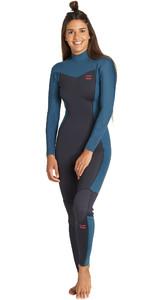2019 Billabong Womens Furnace Synergy 3/2mm Back Zip Wetsuit Black Marine Q43G04