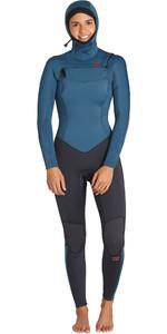 2019 Billabong Womens Furnace Synergy 5/4mm Hooded Chest Zip Wetsuit Black Marine Q45G04