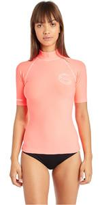 2019 Billabong Womens Logo In Short Sleeve Rash Vest Coral Pink N4GY01