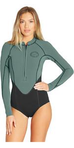 2019 Billabong Womens Salty Dayz 2mm Front Zip Long Sleeve Shorty Wetsuit Moss Q42G02