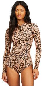 2021 Billabong Womens Salty Dayz 2mm Long Sleeve Shorty Wetsuit Z42G12 - Animal