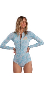 2021 Billabong Womens Salty Dayz 2mm Long Sleeve Spring Shorty Wetsuit W42G53 - Island Blue Neo