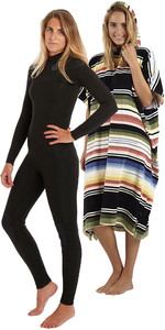 Billabong Womens Salty Dayz 3/2 Chest Zip Wetsuit & Salty Hooded Poncho Package - Black Palms