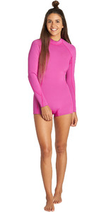 2019 Billabong Womens Spring Fever 2mm Long Sleeve Back Zip Shorty Wetsuit Orchid Haze Q42G03