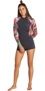 2019 Billabong Womens Spring Fever 2mm Long Sleeve Back Zip Shorty Wetsuit Tropical Q42G03