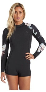 2020 Billabong Womens Spring Fever 2mm Long Sleeve Shorty Wetsuit U42G33 - Black Pebble