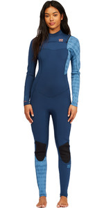 2021 Billabong Womens Synergy 4/3mm Chest Zip Wetsuit Z44G14 - Blue Wave