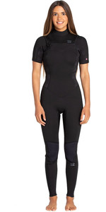 2019 Billabong Womens Furnace Synergy 2mm Short Sleeve Chest Zip GBS Wetsuit Black Palms N42G06