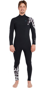 2019 Billabong Mens Furnace Carbon Comp 4/3mm Chest Zip Wetsuit Black Print L44M02
