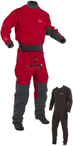 2018 Palm Cascade Front Zip Kayak Drysuit + CON ZIP + Underfleece Red / Black 11741