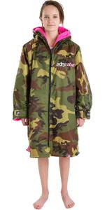2021 Dryrobe Advance Junior Long Sleeve Premium Outdoor Change Robe / Poncho DR104 - Camo / Pink