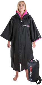 2019 Dryrobe Advance Short Sleeve Premium Change Robe & Compression Travel Bag Package Deal - Black / Pink