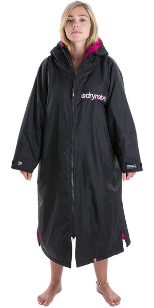 2018 Dryrobe Advance - Long Sleeve Premium Outdoor Change Robe DR104 - M Black / Pink