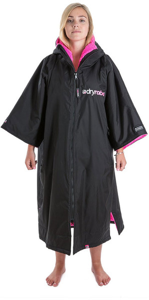 2018 Dryrobe Advance - Short Sleeve Premium Outdoor Change Robe DR100 - L Black / Pink