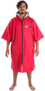 2020 Dryrobe Advance Short Sleeve Premium Outdoor Change Robe / Poncho DR100 - Red / Grey