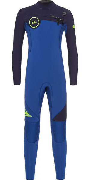 2018 Quiksilver Boys Syncro 4/3mm Chest Zip Wetsuit Nite Blue / Blue Ribbon EQBW103021