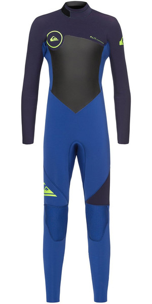 2018 Quiksilver Boys Syncro 3/2mm Back Zip Wetsuit Nite Blue / Blue Ribbon EQBW103023