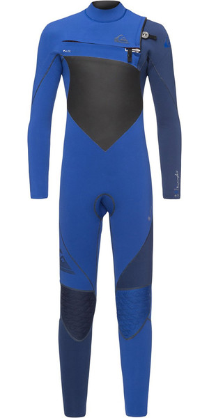 2018 Quiksilver Boys Highline+ 4/3mm Chest Zip Wetsuit Nite Blue EQBW103037
