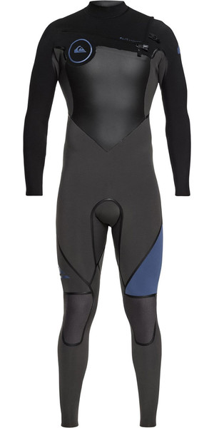 2018 Quiksilver Syncro + 5/4/3mm Chest Zip Wetsuit Black / Cascade Blue EQYW103046