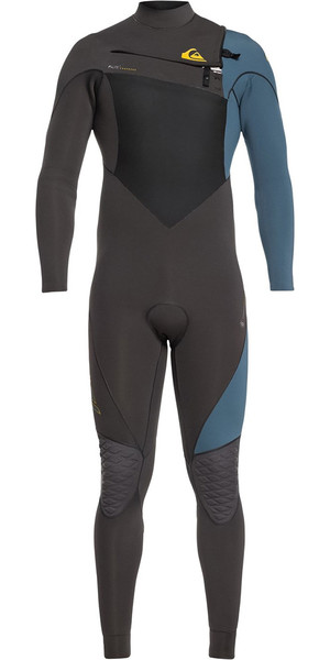 2019 Quiksilver Highline+ 3/2mm Chest Zip Wetsuit Jet Black / Blue Steel EQYW103060