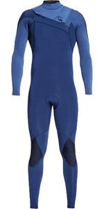 2019 Quiksilver Mens Highline Ltd Monochrome 4/3mm Chest Zip Hydrolock Wetsuit Iodine Blue / Cascade Blue EQYW103074