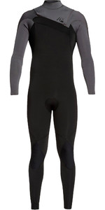 2019 Quiksilver Mens Highline Ltd Monochrome 3/2mm Chest Zip Hydrolock Wetsuit Black / Jet Black EQYW103075