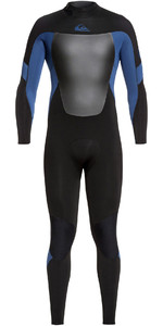 2019 Quiksilver Mens Syncro 4/3mm Back Zip Wetsuit Black / Iodine Blue EQYW103086