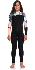 2019 Roxy Girls 3/2mm Pop Surf Front Zip Wetsuit Black ERGW103029