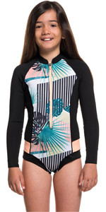 2019 Roxy Girls 2mm Pop Surf long Sleeve Front Zip Shorty Black ERGW403007