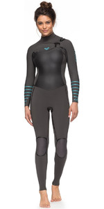 Roxy Womens Syncro Plus 4/3mm Chest Zip Wetsuit Jet Black / Heather Blue ERJW103030