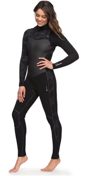 2018 Roxy Womens Performance 4/3mm Chest Zip Wetsuit Black ERJW103032