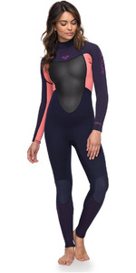 Roxy Womens Prologue 4/3mm Back Zip Wetsuit Blue Ribbon / Coral Flame ERJW103039
