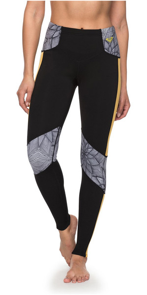 2018 Roxy Popsurf 1mm Scalop Capri Surf Leggings Black ERJWH03012