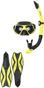 2020 Gul Tarpon ADULT Mask / Snorkel & FIN Set in Yellow / Black GD0003