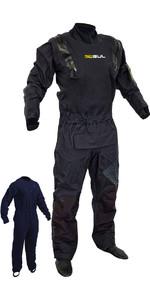 2020 Gul Mens Code Zero Stretch U-Zip Drysuit With Con Zip + Underfleece GM0368-B8 - Black