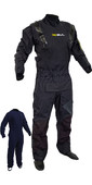 2020 Gul Mens Code Zero Stretch U-Zip Drysuit With Con Zip + Underfleece GM0368-B8 - Black