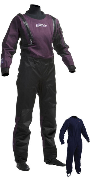 2018 Gul Ladies Code Zero U-ZIP Drysuit Black / Plum GM0373-A8 INCLUDING UNDERFLEECE