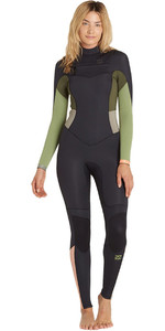 2018 Billabong Ladies 4/3mm Synergy Chest Zip Wetsuit GREEN TEA F44G11