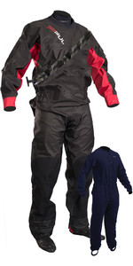 2020 GUL Junior Dartmouth Eclip Zip Drysuit & Free Underfleece BLACK / RED GM0378-B5