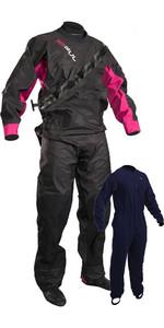 2021 GUL Womens Dartmouth Eclip Zip Drysuit Inc Underfleece Black / Pink GM0383-B5