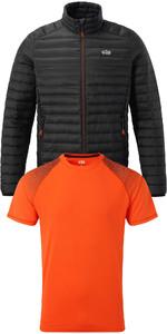 Gill Mens Hydrophobe Down Jacket & UV Tec Fade Print Tee Package Deal Black / Tango